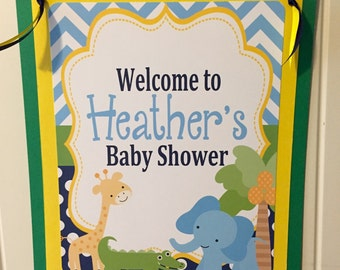 PREPPY JUNGLE SAFARI Happy Birthday or Baby Shower Door or Welcome Sign - Party Packs Available