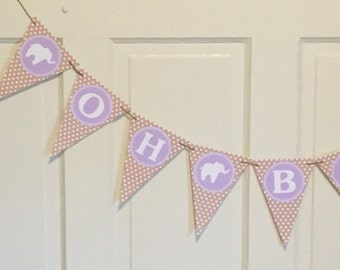 "Sample Sale - SHABBY CHIC ELEPHANT ""Oh Baby"" Baby Shower or Happy Birthday Party Banner Bunting Pennant - Lavender Kraft Paper"