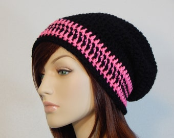 Pink and Black Slouchy Beanie, Slouch Hat, Womens Hat, Ladies Hat, Winter Slouch Hat, Boho Chic, Pink and Black Hat, MarlowsGiftCottage