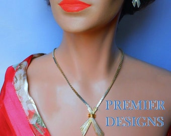Premier Designs Necklace and Earrings Demi Parure, gold sheaves of wheat chain necklace and sheaves post earrings, two tone silver and gold