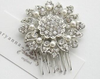 Crystal rhinestone and pearl bridal hair comb