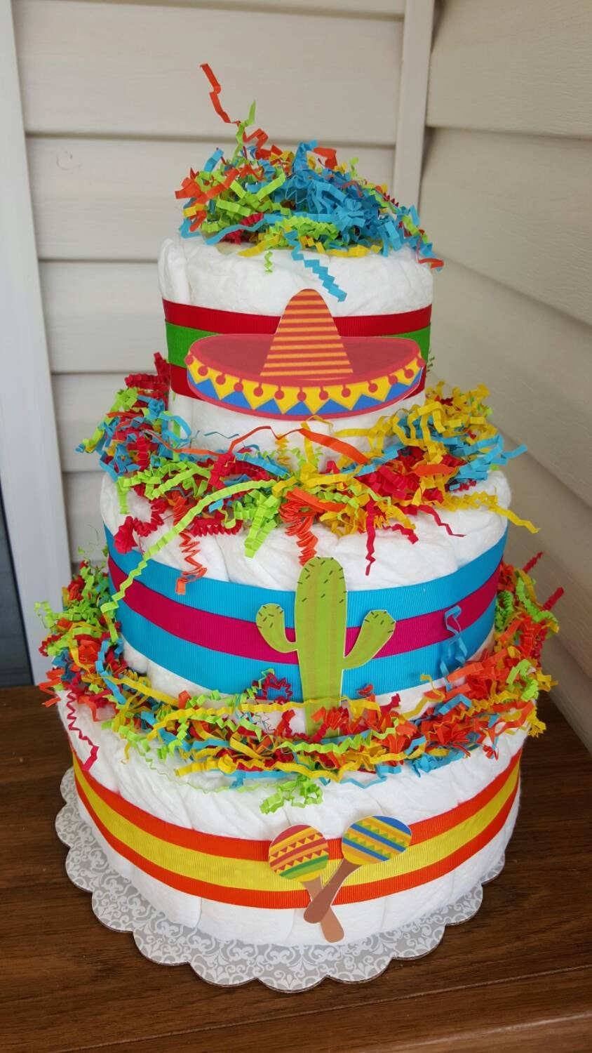 3 tier fiesta theme diaper cake baby shower decoration for Baby shower decoration diaper cake