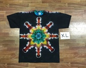 Tie Dye T-Shirt ~ Rainbow Mandala With Black Background ~ i2146 in Adult XL