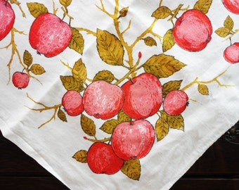 "Luther Travis Vintage Red Apple Tablecloth--Ready to Pick - 48"" x 52"" Square"