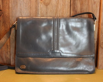Phillippe Purse Gray Leather Crossbody Shoulder Bag Womans Vintage 1980s 80s (J)