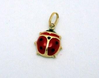 Ladybug Pendant in 14K Yellow Gold