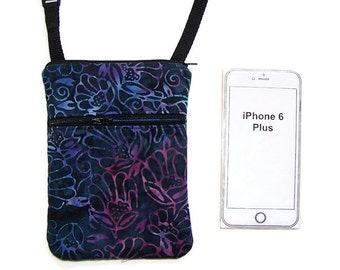 Small Purse, Cell Phone Crossbody, iPhone Case, Extra Long Strap,Floweres on Blue Batik Fabric