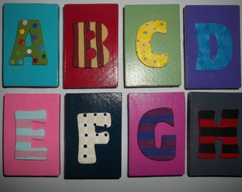 colorful handpainted wood alphabet magnets
