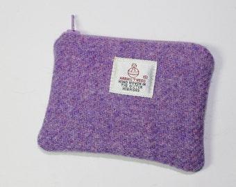 HARRIS TWEED purse, coin purse, change purse, purple/lilac