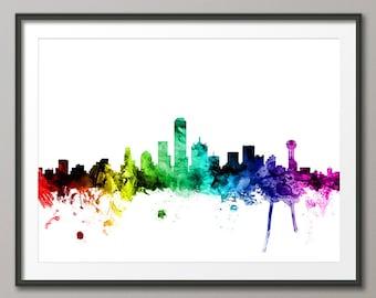 Dallas Skyline, Dallas Texas Cityscape Art Print (2459)