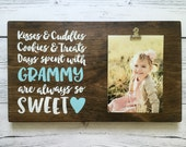 "Wood Sign with Photo Clip - Gift for Grandma/Grandpa/Grandparents - ""Kisses & Cuddles..."" - Customize Name!"
