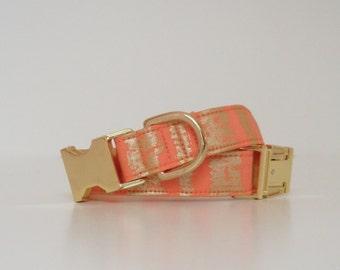 Orange and Gold Metallic Dog Collar Wedding Accessories Made to Order
