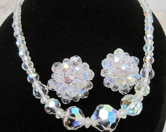 Crystal Necklace Earrings Set - Sparkling Faceted Glass - 50's Signed Germany