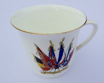E Hughes WWI Cup World War One Mug WWI Ceramic In Freedom's Cause Vintage Military WWI Souvenir