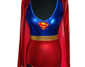 Foil Lycra / Spandex Superman Supergir Playsuit with Cape (Super Hero, Cosplay, Costume)