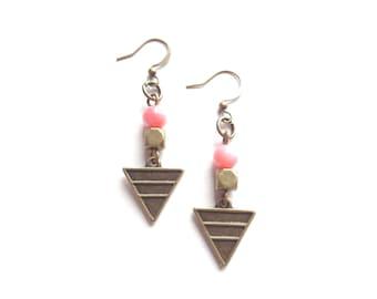 Geometric Earrings, Dangle Earrings, Brass Earrings, Coral Pink Earrings, Boho Earrings, Bohemian Earrings, Boho Jewelry, Geometric Jewelry