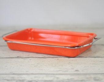 Vintage Orange Enamelware Graniteware Roaster Pan With Frame Baking Pan