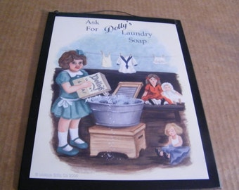 Retro Vintage Primitive  Laundry Room Sign DOLLY Country Wood Wall Decor