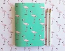 Florida flamingos A5 Blank Notebook -  Pink Flamingo notebook - Holiday journal - Travel notebook - Tropical notepad