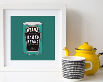 I love Baked Beans - Square Hand Drawn Illustration Print - british food - english food - kitchen art - home decor - heinz baked beans