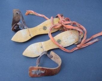 Antique Handmade Child's Wood & Steel Ice Skates
