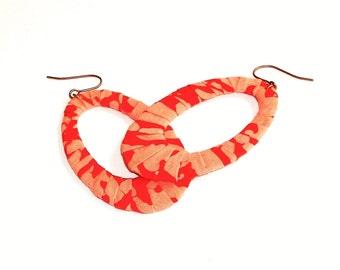 Batik Fabric Wrapped Oval Dangles