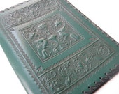 Vintage Hand Tooled Embossed Green Leather Book Cover Jacket Made in Italy