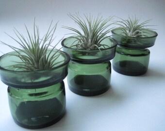 Vintage Set of 4 Dansk Green Glass Candle Holders