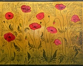 Poppies large woodcut limited edition