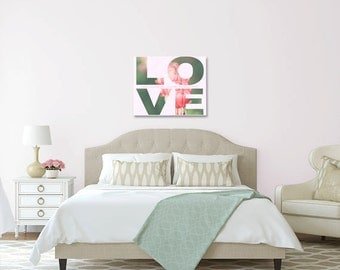 Romantic Gift - LOVE - Valentine - Bleeding Hearts - Typography - Large Wall Art - Ready to Hang - Wrapped Canvas - Pink Green Home Decor