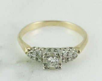 Classic Vintage Diamond Engagement Ring / H VS2 .17 Carats / Mixed 14k White and Yellow Gold / Diamond Shoulders
