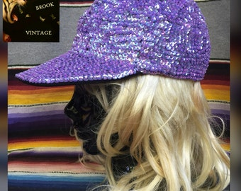 Womens 80s 90s Hipster Glam Sequin Hat - Lavender Purple Sequin Cap - Sequin Ballcap Beaded Hat - Vintage Flat Bill Long Bill Hat