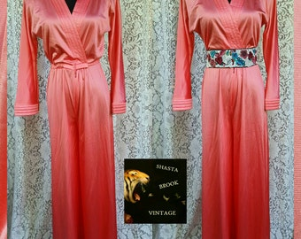 70s Disco Glam Rock Long Silky Pink Playsuit - Long Flared Jumpsuit Romper Loungewear - Michelle Pfeiffer in Scarface - Womens Small Medium