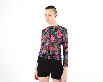 90s Etherial Gaultier Style Printed Floral Mesh Long Sleeve Tight Crop Top / Button Up Cardigan
