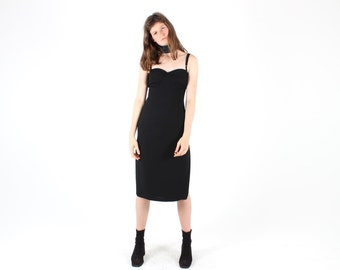 90s Minimal Boutique Designer Super Sexy Love Heart Bust Fitted Wiggle Cocktail Party Black Spaghetti Strap Dress