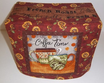 Coffee Time Toaster Cover,  Coffee Theme Toaster Cover with Sunflowers, Two Slice Toaster Cover