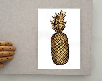 Original minimalist pineapple drawing, modern ink art, pineapple wall art, original pineapple illustration, modern fruit painting, fruit art