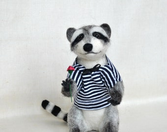 Needle Felted Raccoon OOAK doll miniatures Collectible Animal soft sculpture Wool Art