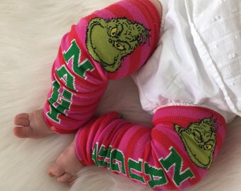 Grinch Pink and Red Stripe Baby Legs / Christmas Leg Warmers- Free Domestic Shipping