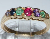 DEAREST Half Eternity Ring 9K Yellow Gold Multi Colored Romantic Anniversary Ring  Made in England Customizable