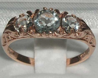 Solid 9K Rose Gold Natural Aquamarine Art Nouveau Carved Anniversary Ring, English Antique Style 3 Stone Trilogy Ring - Customize:14K,18K