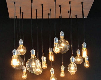 Grey Industrial Chandelier With Reclaimed Wood And 18 Exposed Bulbs
