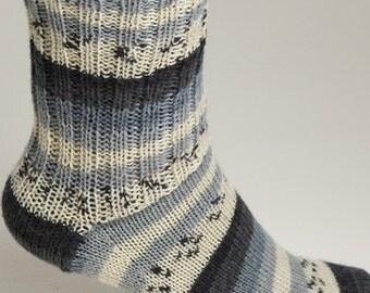 Sock Yarn, Viking Of Norway Mini Raggen, Wool Self Striping Sock Yarn, Icy