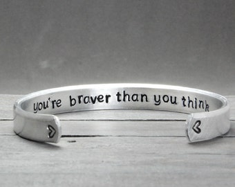 Bracelet for Kids, Childs Bracelet, You're Braver Than You Think Cuff, Bracelet for girls, Secret Message Cuff,  Personalized Jewelry,
