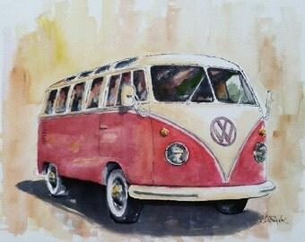 SALE Vintage V.W. Bus - original watercolor classic vintage automotive art painting