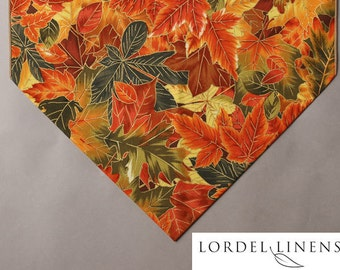 """Fall Table Runner, Colorful Fall Leaves, Orange, Green, Brown and Gold Fall Leaves,  Large 72"""" Table Runner, Fall Decor"""