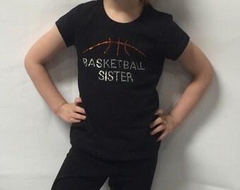 Rhinestone Basketball Sister Tee • T-Shirt • Shirt • Top • Childs • Girls • Youth • Adult
