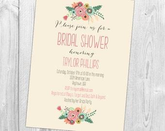 Floral Arches Bridal Shower Invitation, Wedding Shower Invitation with Flowers