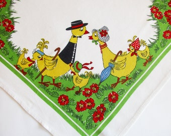 Beautiful German Vintage Colourful Easter Tablecloth with Lovely Duck Family made in the DDR/ Tablelinen topper