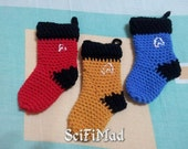 Star Trek Christmas decorations set of three mini stockings FREE P&P EVERYWHERE.